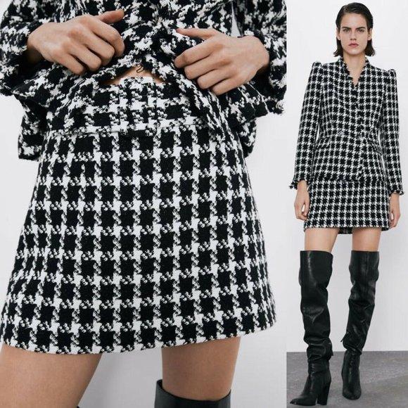 Zara Dresses & Skirts - Zara Houndstooth Textured Mini Belted A-Line Skirt